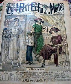 """VTG 1920s """"BRIDE"""" PARIS FASHION SEWING PATTERN MAGAZINE LE PETIT ECHO de la MODE"""