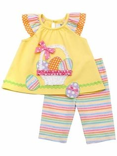 Infant or Girls Easter Outfit : Yellow Easter Basket Capri Set Easter Outfit For Girls, Girls Easter Dresses, Little Girl Dresses, Baby Sewing, Sewing For Kids, Summer Capri Outfits, Toddler Outfits, Kids Outfits, Toddler Girls