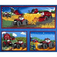 "Case IH Kid's Pillow 36"" Panel Blue from @fabricdotcom  Licensed by Case IH to Fabrique Innovations, Inc., this cotton print fabric panel measures approximately 36"" x 44"". Colors include red, white, blue, black, grey, green and yellow. This is a licensed fabric and not for commercial use."