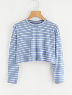 Shop Contrast Trim Striped Tee at ROMWE, discover more fashion styles online. Crop Top Outfits, Cool Outfits, Casual Outfits, Girls Fashion Clothes, Fashion Outfits, Sims 4 Dresses, Cute Sleepwear, Half Shirts, Kawaii Clothes