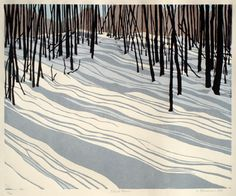 """Silent Cover"" linocut print by LORALIE CLEMMENSEN. http://loralieclemmensen.com/ Tags: Linocut, Cut, Print, Linoleum, Lino, Carving, Block, Woodcut, Helen Elstone, Trees, Forest, Woods, Winter, Snow, Shadows."