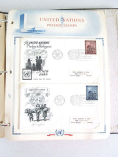 White Ace Stamp Album United Nations Mounts First Day Issue 27 pages 1950s