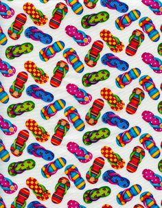 Rainbow Flip Flops on White
