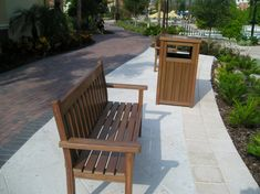 Bench and trash receptacle available in different materials...#resortlife #hosptality #madeinusa #syntheticwood Wood Furniture, Outdoor Furniture Sets, Outdoor Decor, Bench, Home Decor, Timber Furniture, Decoration Home, Room Decor, Benches