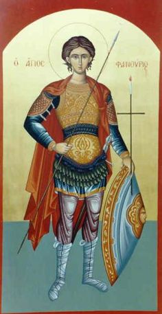St Phanourios icon from Church of Cyprus Queer Art, Orthodox Christianity, Orthodox Icons, Bible Lessons, Religious Art, Saints, Prayers, Spirituality, Warriors