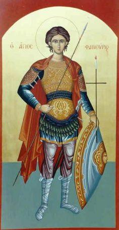 St Phanourios icon from Church of Cyprus Orthodox Christian Icons, Warrior
