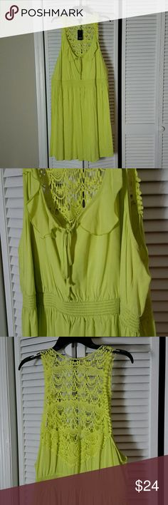 Torrid Plus Size 3 Chartreuse Crochet Ruffle Dress Pop some bright lime green into your wardrobe! This super cute sundress features crochet racerback trim detailing, ruffles along the front with a little bow tied at neckline, smocked stretch high waist, and super lightweight fabric for a breezy feel!  Torrid size 3, equivalent to about a 22/24 dress size, or 3X. I've tried this on, and it feels true to size.   NWT. I've had it in my closet for quite some time, but never had the balls to wear…