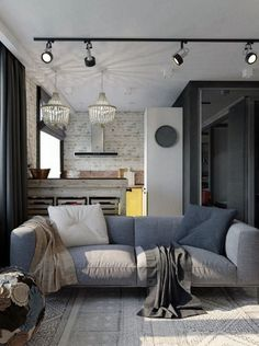 Most Stylish Industrial Living Room Ideas with Unique Decor Loft Interior, Luxury Homes Interior, Office Interior Design, Interior And Exterior, Living Pequeños, Condo Living, Apartment Living, Living Spaces, Sofa Shop