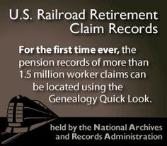 """U.S. Railroad Retirement Claim Records index from the """"Genealogy Quick Look"""", part of the Midwest Genealogy Center at the Mid-Continent Public Library"""