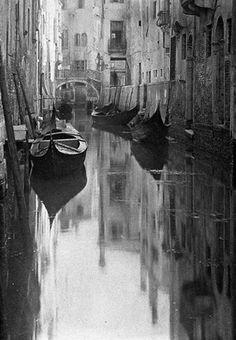 "Alfredstieglitz, Venetian Canal, Alfred Stieglitz, Photographer, Venice Italy, Places, Travel, Photography, Black. """