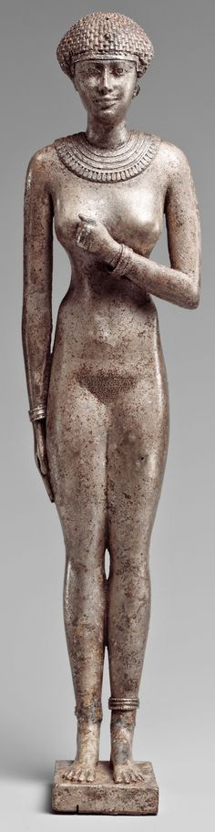 Silver Statue of a Royal Woman with the Cartouches of Necho II on her Arms, Egypt,  610-595 BCE