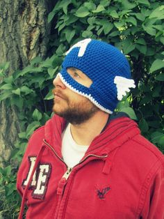 Captain America Hat with Mask Crochet Teen to by TheCrazyCuteShop, $23.00