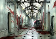 """Rutledge Asylum - Insane by *SpicyHorseOfficial on deviantART. Based on the article by Carla Yanni, """"Establishing the Type. Describing the architecture of insane asylums. I like the red as a metaphor for all of the untold horrors that were not told. I like to think of this as the far side of the building where the rooms became smaller, dirtier, and worse."""