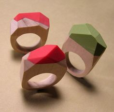 Color dipped facet rings