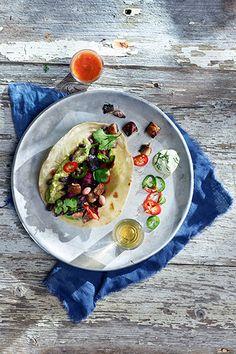 Vegetar taco med portobello og rødkålslow - Oppskrift