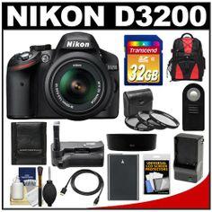 Nikon D3200 Digital SLR Camera & 18-55mm G VR DX AF-S Zoom Lens (Black) with 32GB Card + Backpack + Battery &...