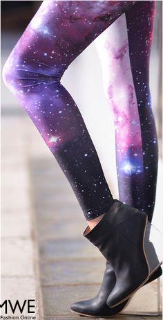 Galaxy Print Purple Leggings on Chiq  $29.99 http://www.chiq.com/galaxy-print-purple-leggings