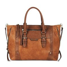 Brown Combo Large Winged Tote | Susan | Free Shipping on Orders $50+