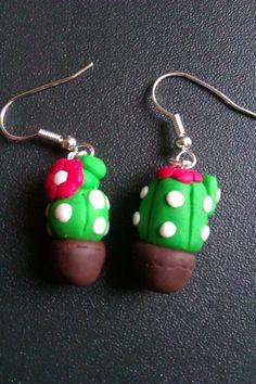 Se ti piacciono i miei #orecchini in #fimo visita la mia pagina fb! Cactus earrings - if you like them please write to me at https://www.facebook.com/ChiaraCreazioniInFimo?ref=tn_tnmn
