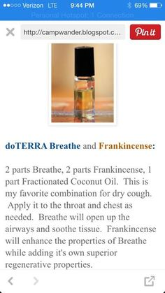 essential oil recipe for a dry cough