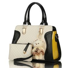 Fashion And Style PU Leather Shoulder Handbag W/ Bear Mascot 7 Colors