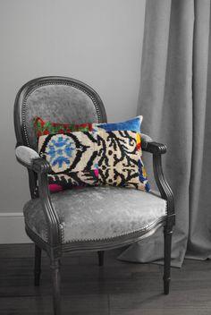 Cojín Ikat patchwork