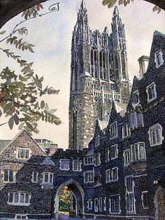 """Princeton University - Where I earned by PhD.  Cleveland Tower in the Graduate College is shown.  I lived in a fantastic dorm suite near this tower.  It had a huge """"den"""" with a fireplace.  Rumor has it that if a taller building appears in Princeton, the name of the tower has to change."""