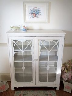 Beautiful White Antique Bookcase with Glass Doors and Fretwork