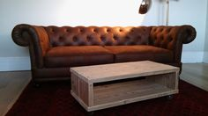This chunky coffee table is handmade-to-order with love, using recycled scaffolding boards. We hand sand each board to reveal the natural beauty of Scaffolding Wood, Scaffold Boards, Small Lounge, Lounge Ideas, Chesterfield Chair, Natural Beauty, Accent Chairs, Recycling, Coffee