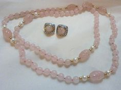 Long Rose Quartz, Pearl Necklace with Earrings #Unbranded