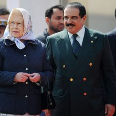 The Queen took the opportunity to catch up with her fellow royal, the King of Bahrain...