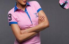Women Pink Short Sleeves Polo Shirt Striped Lining Blue Collar, French-Shirts.com