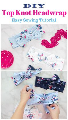 Top Knot Bow Head Wrap Nähanleitung - Crafts and More - Sewing Samples Diy Baby Headbands, Diy Hair Bows, Diy Headband, Baby Bows, Turban Headband Tutorial, Sewing Headbands, Fabric Hair Bows, Hair Bow Tutorial, Fabric Headbands