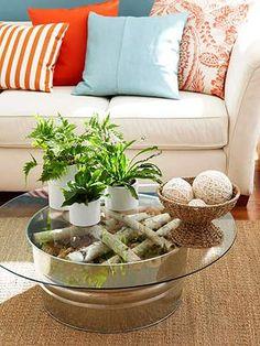 Galvanized Tub & Birch Wood Under Glass Coffee Table