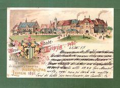 alte Litho Ak Leipzig 1897 Industrie u. Gewerbe Ausstellung mit der Messestadt