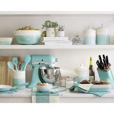 KitchenAid mixer + Aqua Sky accessories