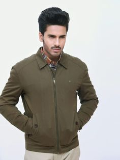 Olive Green Casual Jacket