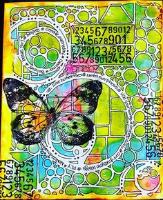 HASHTAG...Found my Gelli Plate and grabbed one of my #stencilgirlproducts December monthly kit stencils...some doodling and stamping #iseestencilseverywhere #gelliplate  #butterfly #mixedmedia #emerge2016  #monicadowning2016 #2016artjourney #wherewomencreate