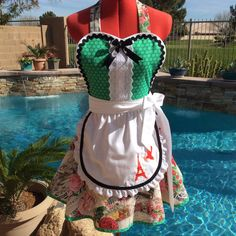 Aprons French Chic Sassy Apron with White Overlay by sassyapron