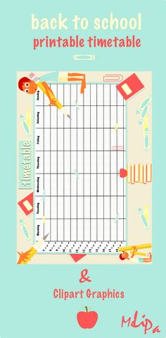 printable school timetable and back to school clipart graphics by MeinLilaPark Printable Planner Stickers, Free Printables, Back To School Clipart, School Timetable, Freebies, Parents As Teachers, Too Cool For School, Classroom Organization, School Supplies