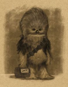 Chewbacca........oh my goodness! He's so cute!!! He looks really little in this cartoon picture!