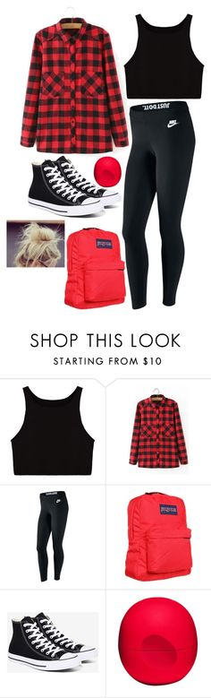"""Red/Black (i come up with the lamest names)"" by hipopaws on Polyvore featuring WithChic, NIKE, JanSport, Converse and Eos"