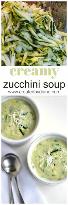 white bowls of zucchini soup