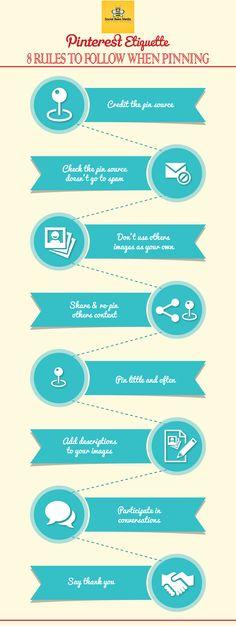 Pinterest Etiquette: 8 Rules to Follow when Pinning.  #pinteresttips #socialmedia  See the full blog post here:  http://socialbeesmedia.com/pinterest-etiquette/