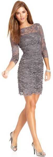 Threequartersleeve Ruched Lace Cocktail Dress - Lyst