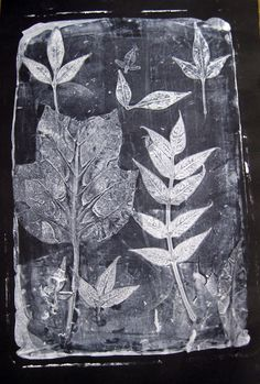 Leafy Spring Prints - tutorial - uses gelatin, printer's ink, readily available product
