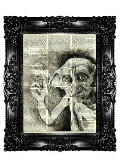 DOBBY Sketch from Harry Potter Dictionary Art Print by nommon $7.99