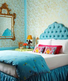 Lili's elegant idea for her bedroom - beautiful, bed, bedroom, blue, gold, headboard