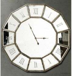 Mirrored Wall Clock london large round silver wall clock with antiqued mirror glass