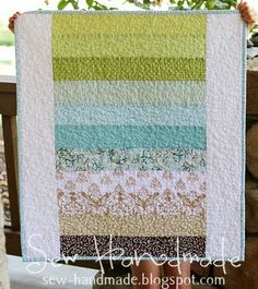 Sew Handmade: Color Block Baby Quilt Love the colour sequence Big Block Quilts, Strip Quilts, Easy Quilts, Small Quilts, Quilt Blocks, Amish Quilts, Scrappy Quilts, Quilting Projects, Sewing Projects